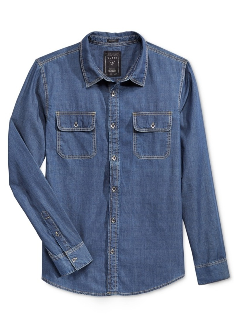 Guess Men's Denim Long-Sleeve Shirt