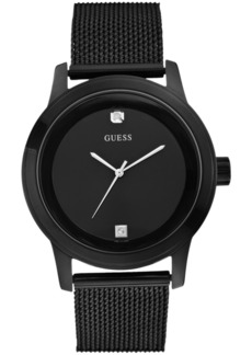 Guess Men's Diamond Accent Black Ion-Plated Stainless Steel Mesh Bracelet Watch 45mm U0297G1