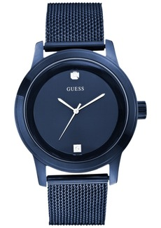 Guess Men's Diamond Accent Blue Mesh Bracelet Watch 45mm U0297G2