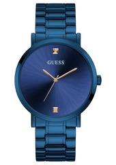 Guess Men's Diamond-Accent Blue Stainless Steel Bracelet Watch 44mm