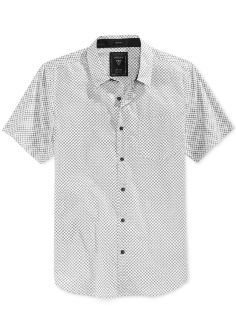 Guess Men's Diamond Grid Short-Sleeve Shirt