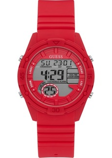 Guess Digital Red Silicone Strap Watch 40mm