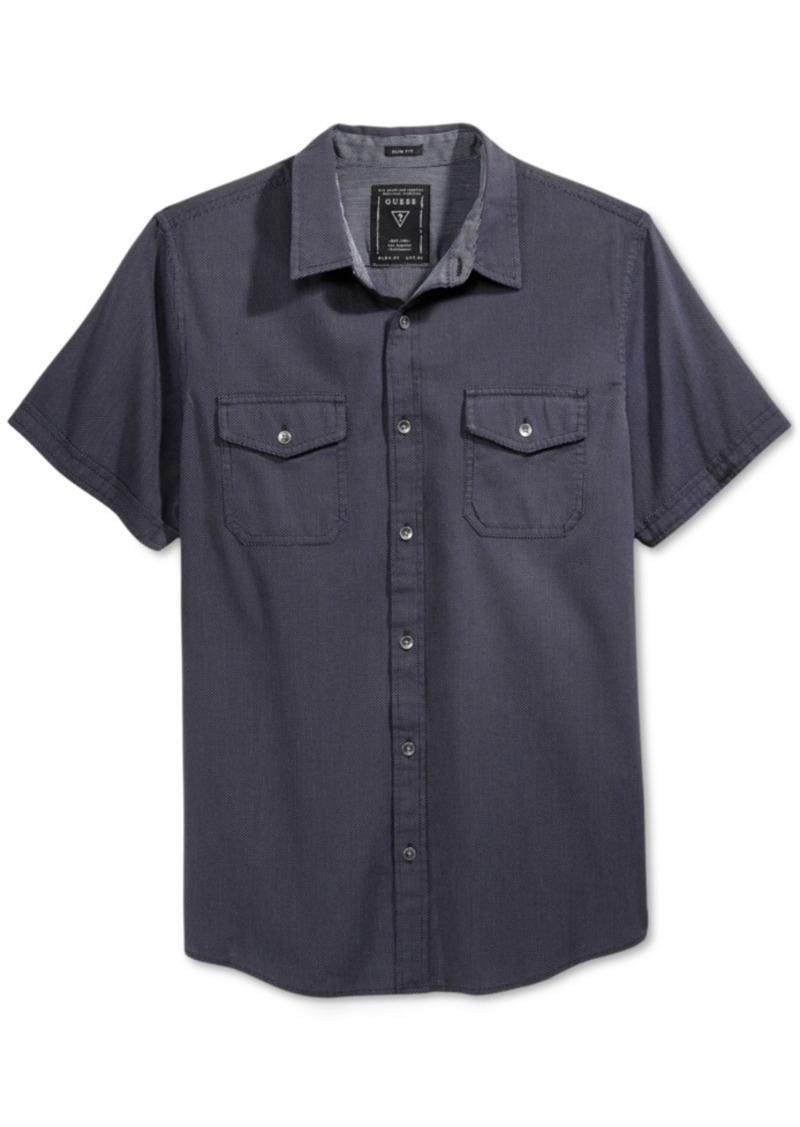 Guess Men's Dobby Micro-Check Short-Sleeve Shirt