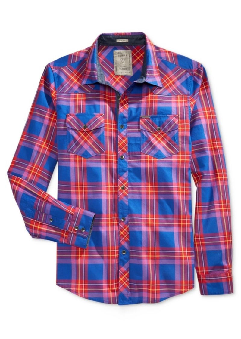 Guess Men's Douglas Plaid Long-Sleeve Shirt