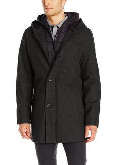 GUESS Men's Duffle Coat With Hood