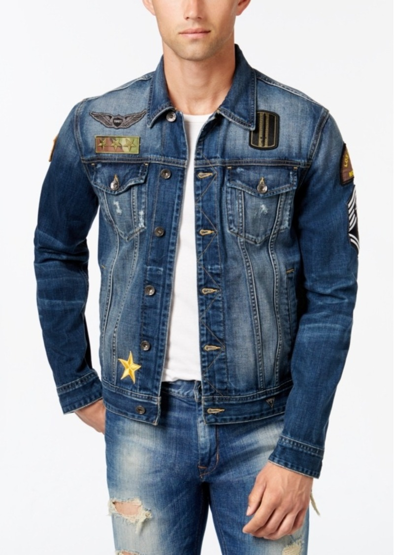 Guess Guess Men S Embroidered Denim Jacket Outerwear