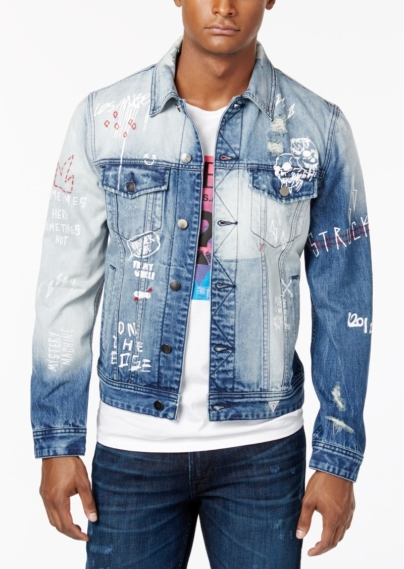 Guess Guess Men S Embroidered Ripped And Faded Denim Jacket Outerwear