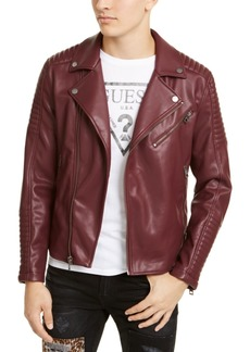 Guess Men's Fairfax Quilted Faux Leather Biker Jacket