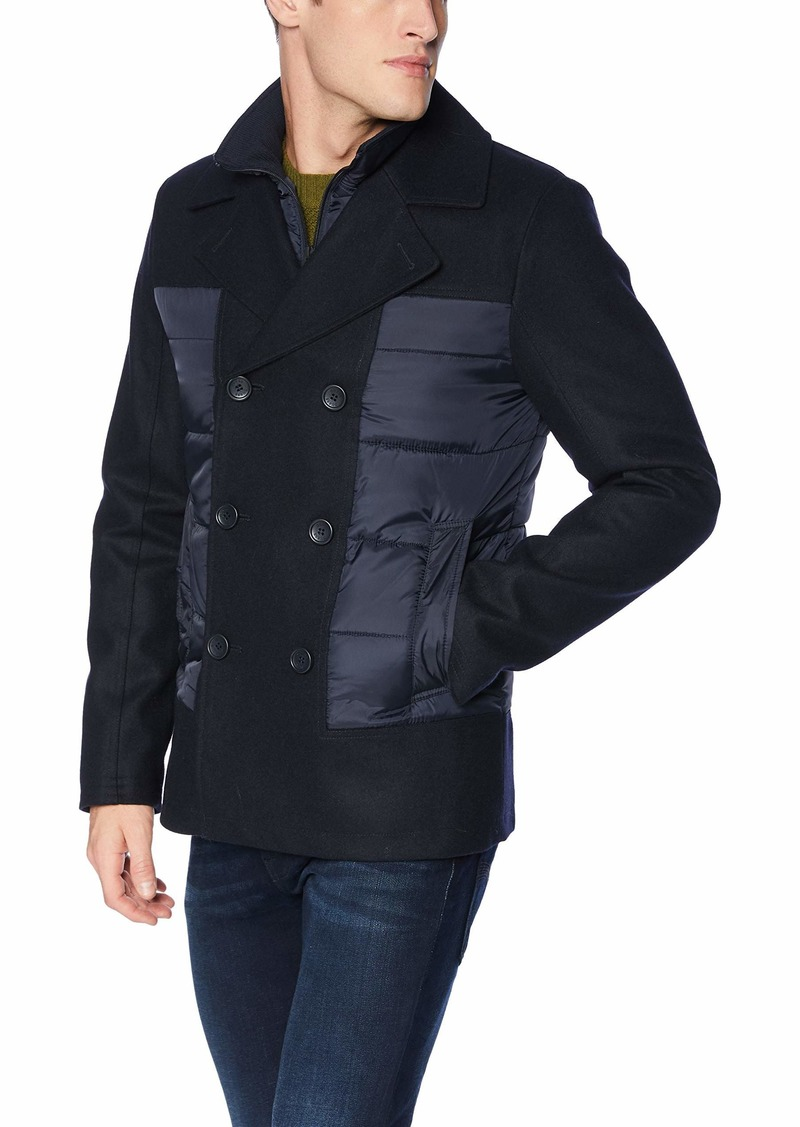 GUESS Men's Fashion Pea Coat with Quilted Detail