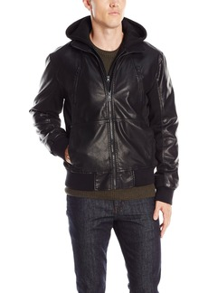 GUESS Men's Faux eather Hooded Stand Collar Jacket  arge