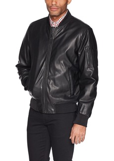 GUESS Men's Faux Leather Bomber Jacket  S