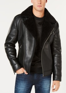 Guess Men's Faux-Leather Fleece-Lined Asymmetrical Full-Zip Moto Jacket