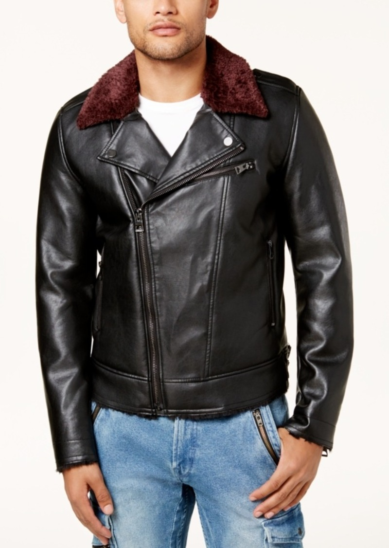 Guess Guess Men S Faux Leather Fleece Lined Biker Jacket Outerwear