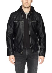 GUESS Men's Faux Leather Hooded Moto Jacket black L
