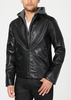 Guess Men's Faux-Leather Moto Jacket with Removable Hood