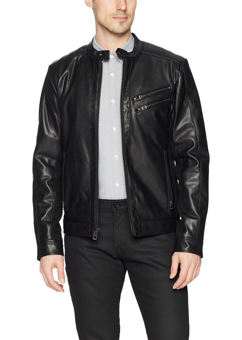 Guess Guess Men S Faux Leather Moto Jacket Xl Outerwear