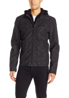 GUESS Men's Faux Suede Hooded Jacket