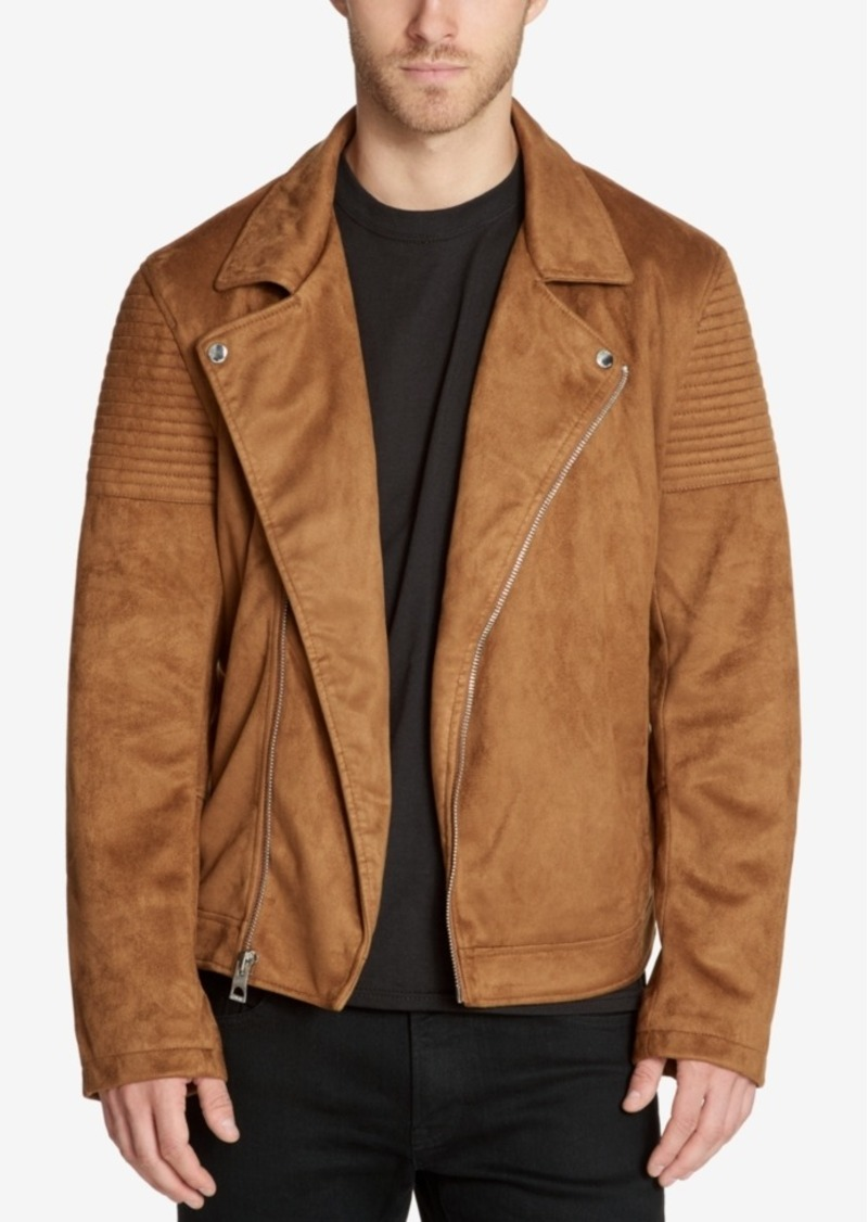 Guess Guess Men S Faux Suede Moto Jacket Outerwear Shop It To Me
