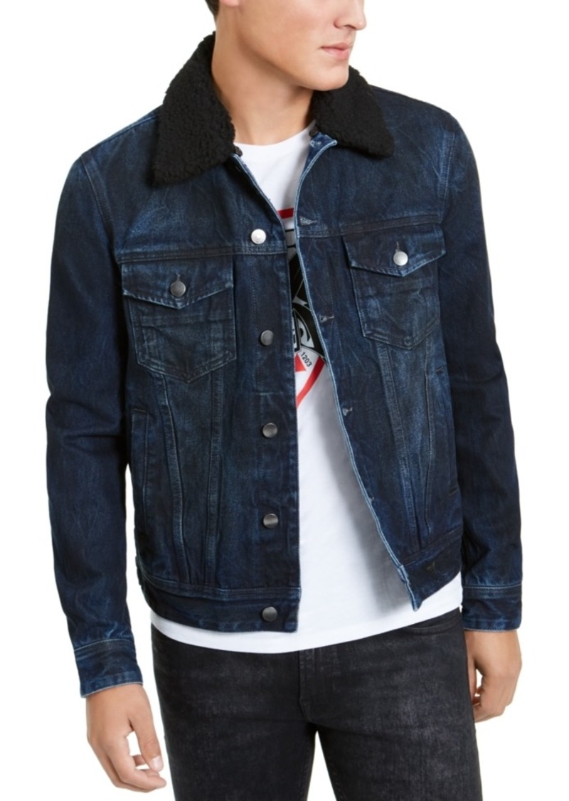 Guess Men's Fleece Collar Denim Jacket