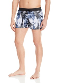 GUESS Men's Floral 12 inch Elastic Waist Swim Trunk Palm Tree Mix up Tru