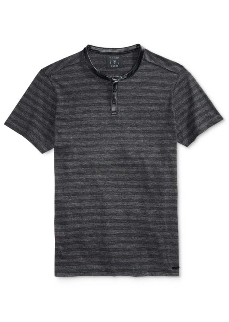 Guess Men's Heather Stripe Henley T-Shirt