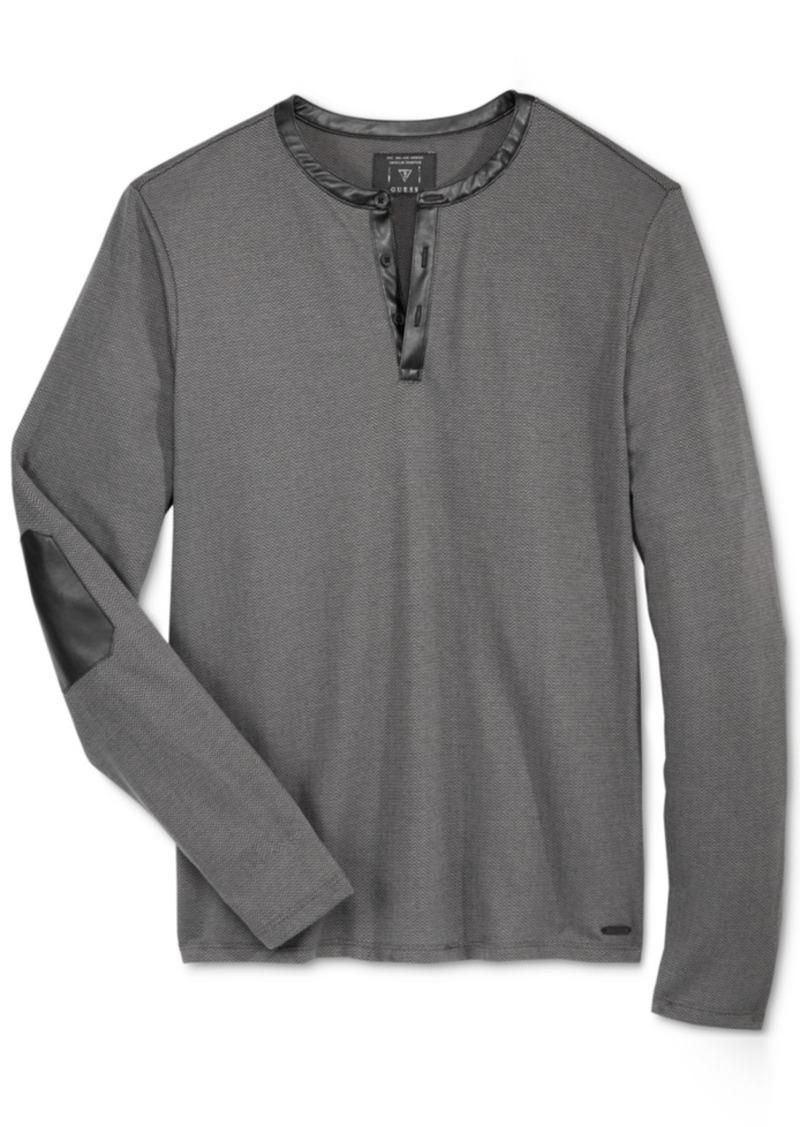 Guess Men's Herringbone Henley Shirt