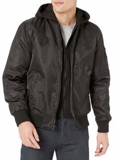 GUESS Men's Hooded Bomber Jacket black M
