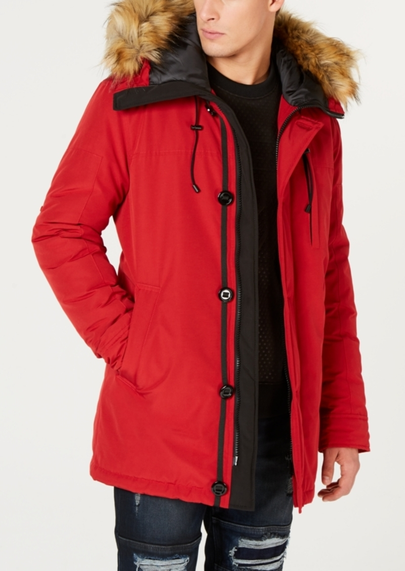 Guess Men's Hooded Parka with Removable Faux-Fur Trim