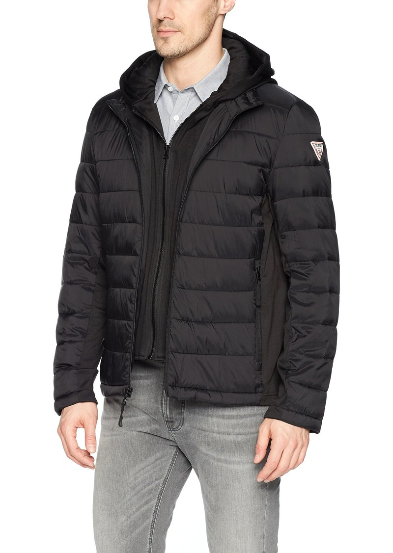 99697766e7b9 GUESS GUESS Men s Hooded Puffer Jacket With Knit Side Panels M Now ...
