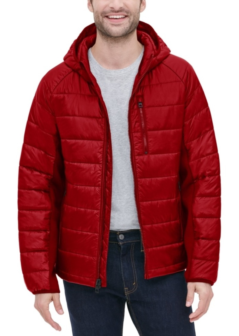 Guess Men's Hooded Puffer with Knit Side Panels