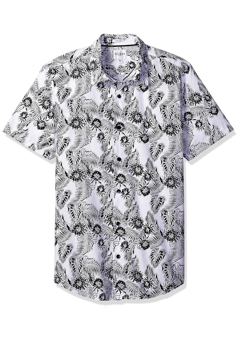 GUESS Men's Ink Palm Laguna Shirt True White XL