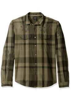 GUESS Men's Jake Voile Plaid Shirt  L