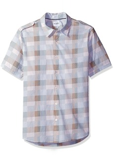 GUESS Men's Jake Voile Dot Check Shirt Mock Orange L