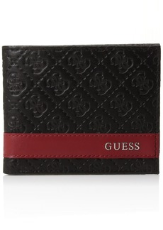 Guess Men's Leather Slim Bifold Wallet Mesa ID Black/Red