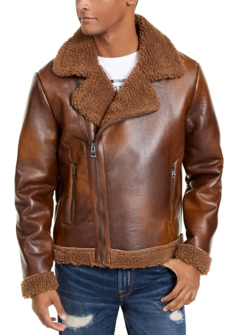 Guess Men's Liberty Faux Leather Motorcycle Jacket with Sherpa Trim