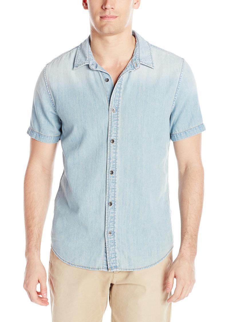 GUESS Men's Light Wash Slim Denim Shirt Steady Blue