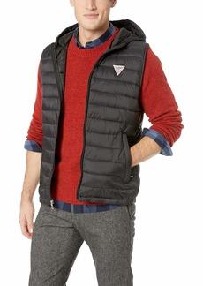 GUESS Men's Light Weight Puffer Vest with Hood black