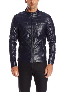 GUESS Men's Lightweight Faux Leather Moto Jacket