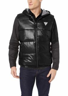 GUESS Men's Logan Hooded Puffer Vest  a XXL