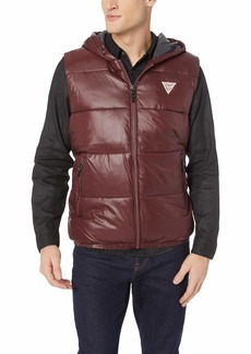 Guess Men's Logan Hooded Puffer Vest REZNOR red XL