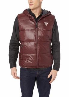 Guess Men's Logan Hooded Puffer Vest REZNOR red XL