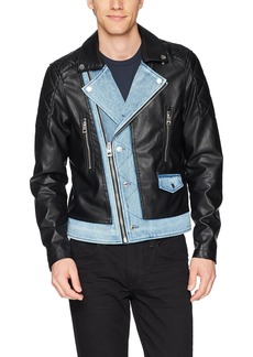 GUESS Men's Long Sleeve Ace Pu Denim Mix Moto Jacket  M