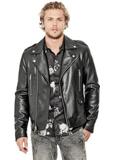 GUESS Men's Long Sleeve All ACES Moto Jacket