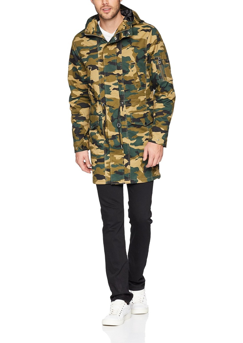 GUESS Men's Long Sleeve Camo Eagle Fishtail Parka Traditional Green S