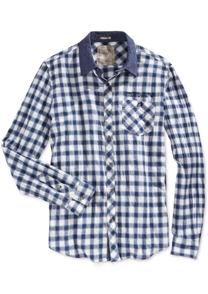 Guess Men's Long-Sleeve Check-Print Shirt