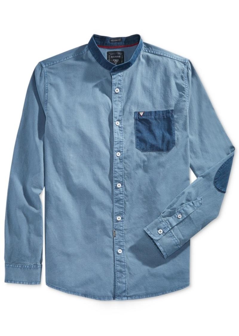 Guess Men's Long-Sleeve Dobby Pocket & Patch Shirt