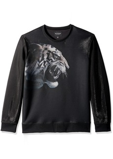 GUESS Men's Long Sleeve Embroidered Luther Tiger Crew  S