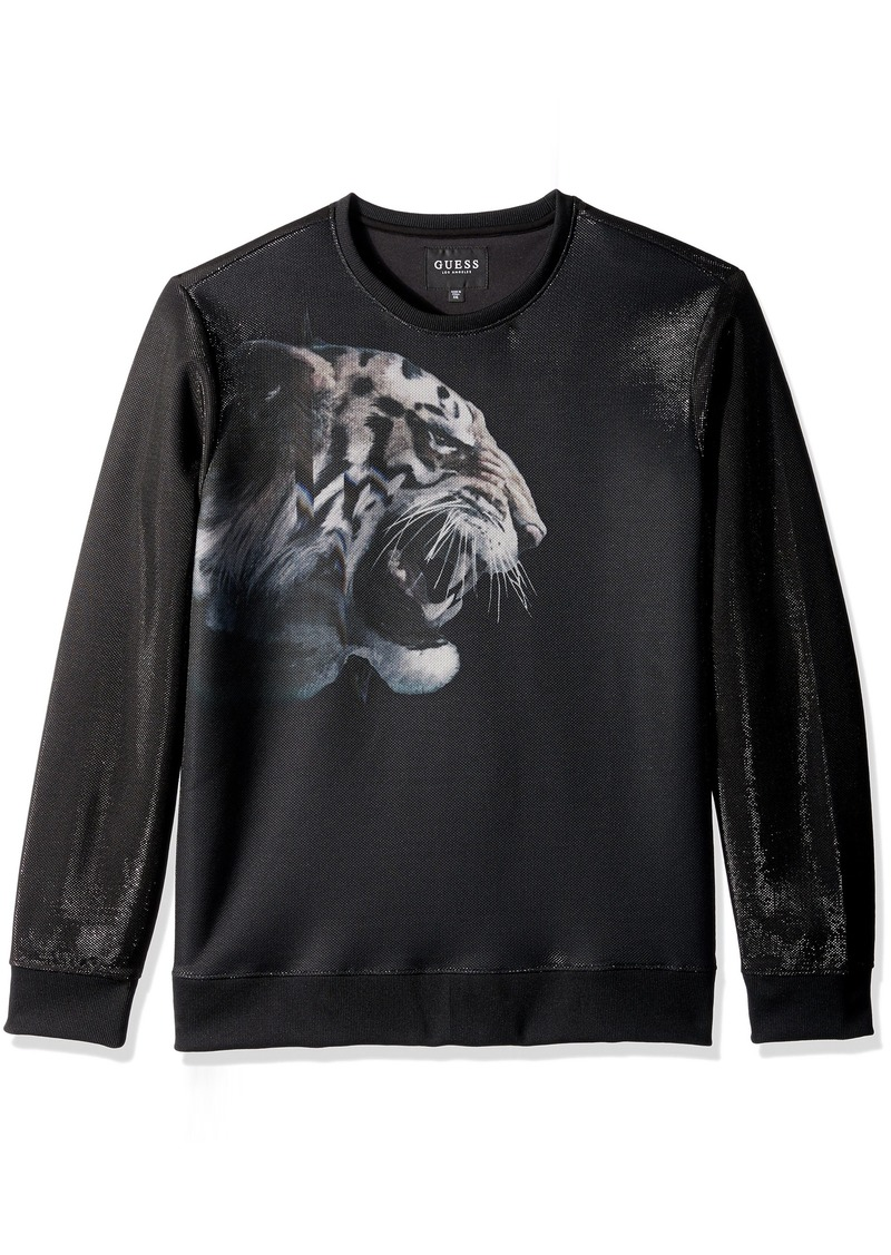 GUESS Men's Long Sleeve Embroidered Luther Tiger Crew  XL