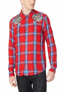 GUESS Men's Long Sleeve Formosa Plaid Shirt Splatter red/Multi M