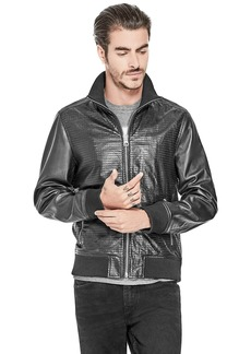 GUESS Men's Long Sleeve Glide Perforated Pu Bomber